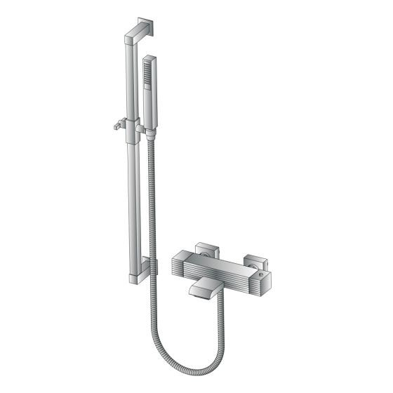 Shower wallbar with hose with mixer tap CASANOVA 3267TM302 - RUBINETTERIE STELLA