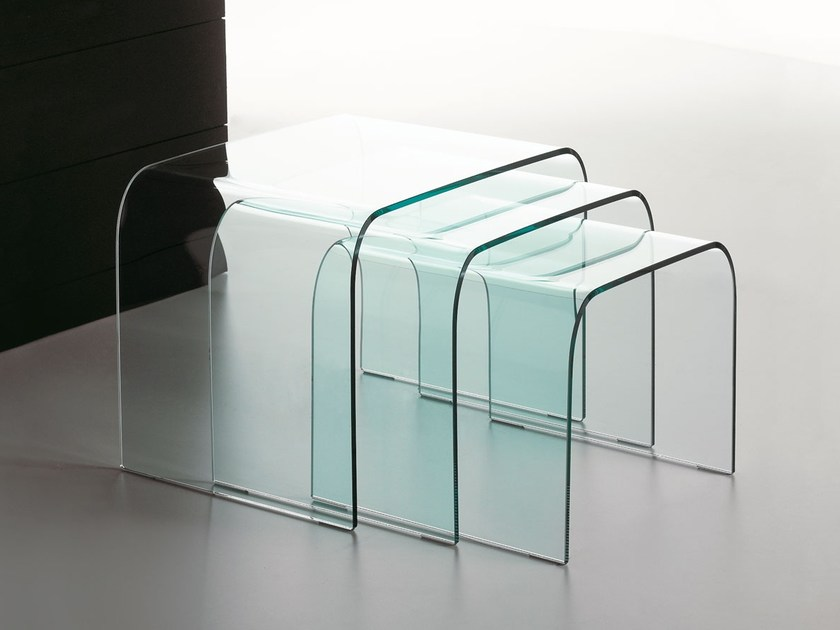 Table Gigogne En Verre Driade By Italy Dream Design