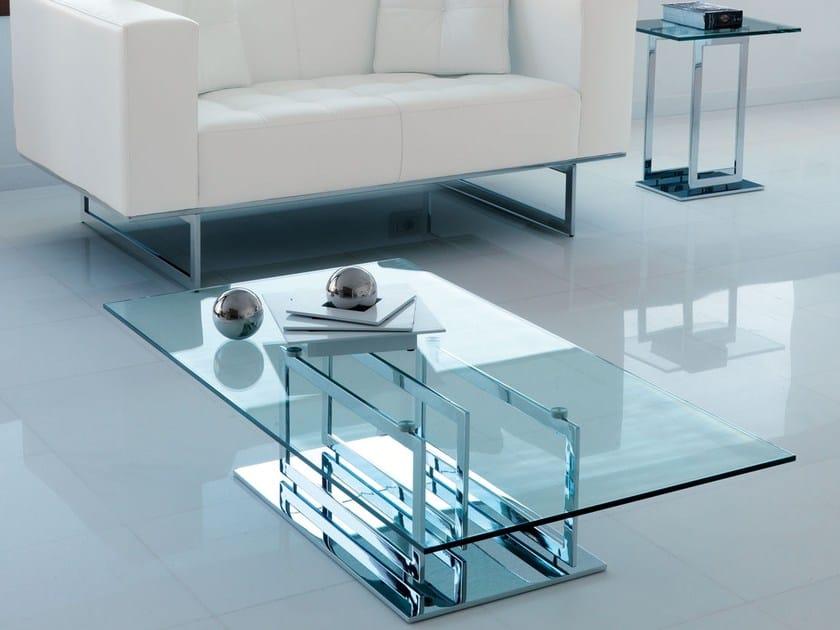 Tavolino in vetro in stile moderno da salotto excelsior for Tavolini da salotto design moderno