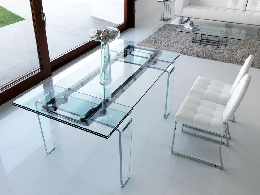 Tavolo allungabile rettangolare da pranzo in cristallo in for Tavoli da pranzo in cristallo