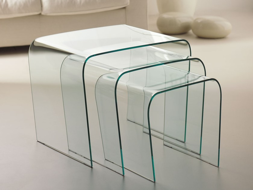Stackable glass coffee table TRIADE by Italy Dream Design