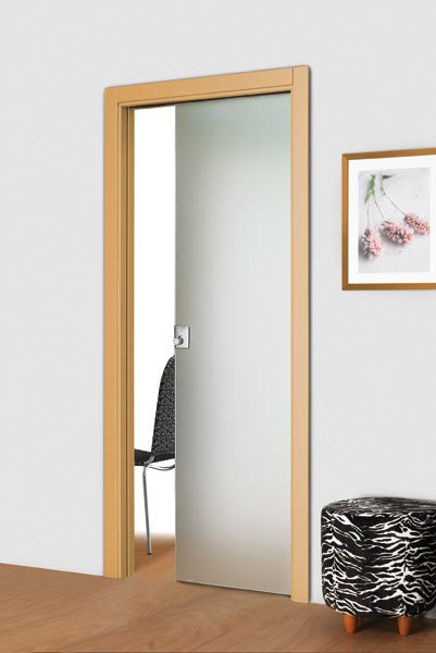 Tempered glass pocket sliding door without frame Pocket sliding door - Vetraria Pescini