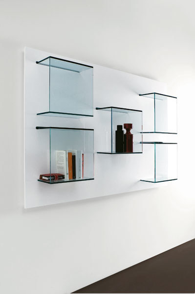 Wall-mounted glass bookcase GLASS PROJECT | Bookcase - Vetraria Pescini