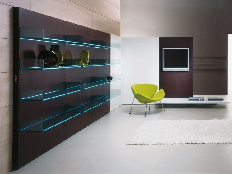 TV wall system GLASS PROJECT | Storage wall - Vetraria Pescini