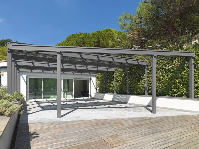 Veranda fotovoltaica in acciaio inox veranda con vetri for Piani di fattoria con veranda