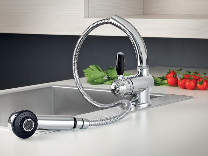 Chrome-plated kitchen mixer tap with pull out spray ROMA | 3232 - RUBINETTERIE STELLA