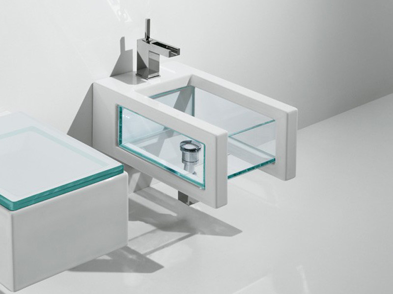 Wall-hung ceramic and glass bidet GLASS | Wall-hung bidet - GSG Ceramic Design