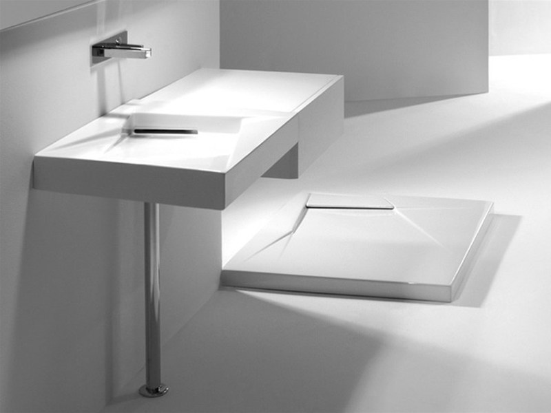 Rectangular wall-mounted ceramic washbasin OZ 65 | Wall-mounted washbasin - GSG Ceramic Design