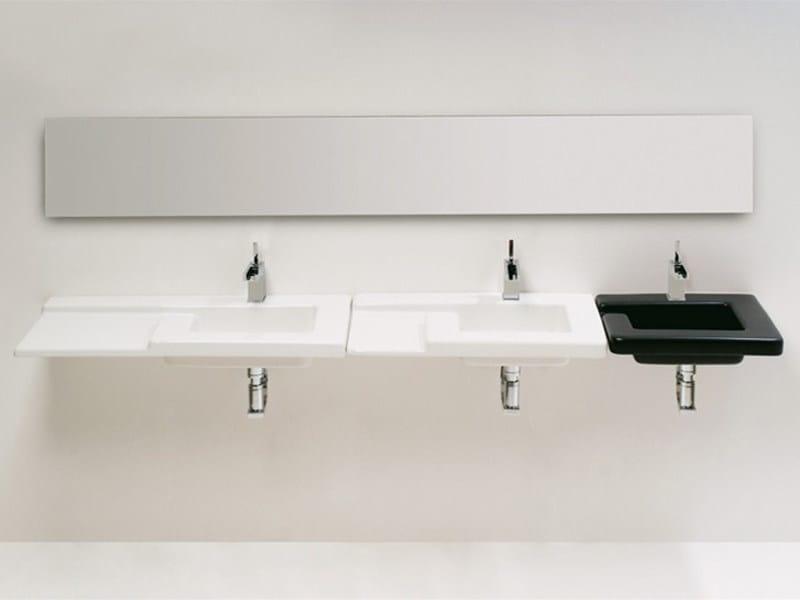 Rectangular wall-mounted ceramic washbasin RACE | Washbasin - GSG Ceramic Design