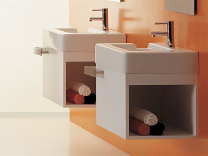Wall-mounted wooden vanity unit RACE | Wall-mounted vanity unit - GSG Ceramic Design