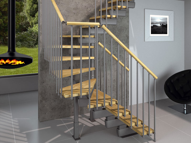 Modular Open staircase in kit form TECH CE - RINTAL