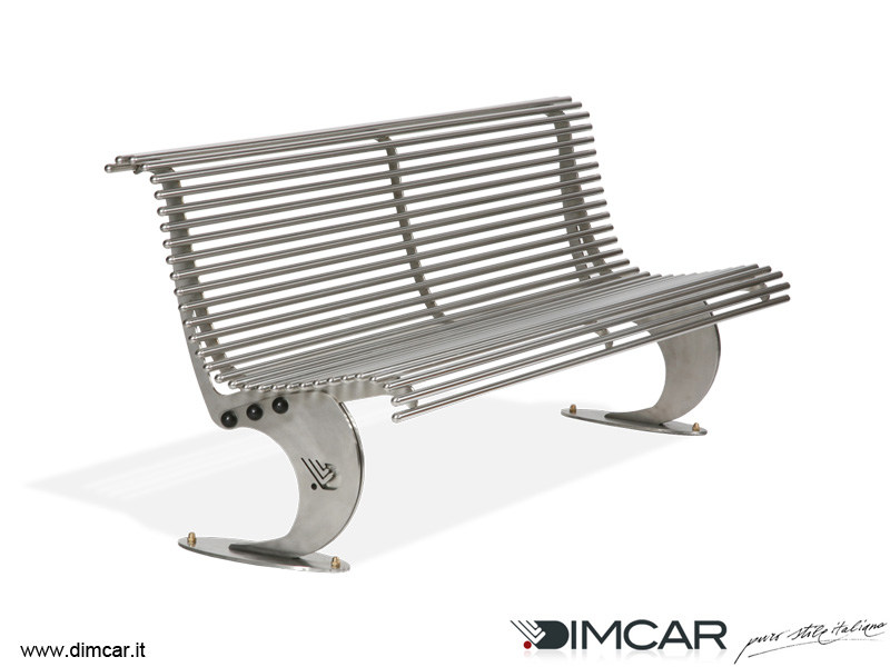 Contemporary style stainless steel Bench with back Panchina Luxe in acciaio inox - DIMCAR