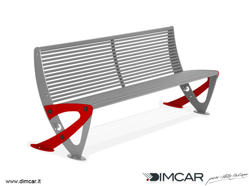 Contemporary style metal Bench with back Panchina Teulada - DIMCAR