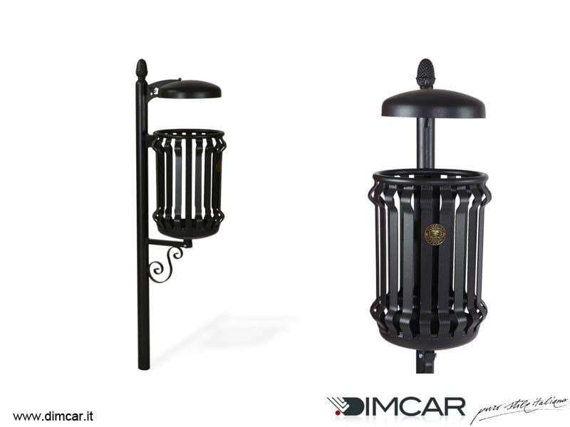 In-ground outdoor metal waste bin with lid Cestino Barocco con coperchio - DIMCAR