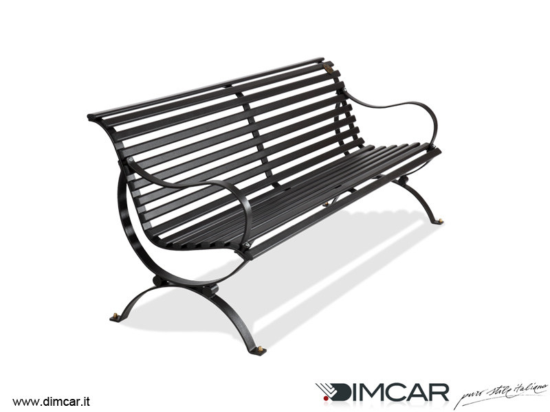 Classic style metal Bench with armrests with back AURELIA - DIMCAR