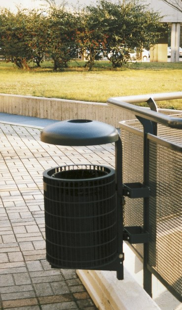 Outdoor metal waste bin with ashtray MUNDIAL PRINT  0140 by SMEC