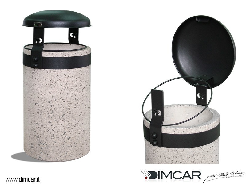 Outdoor Concrete and Cement-Based Materials waste bin with lid Cestone Giove finitura grigia - DIMCAR