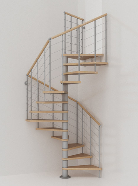 Modular stainless steel and wood Spiral staircase GENIUS 010 + 2:Easy by Fontanot Spa