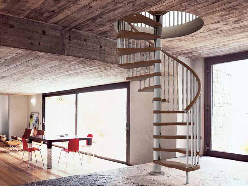 Stainless steel and wood Spiral staircase GENIUS 020 + 2:Easy - Fontanot Spa