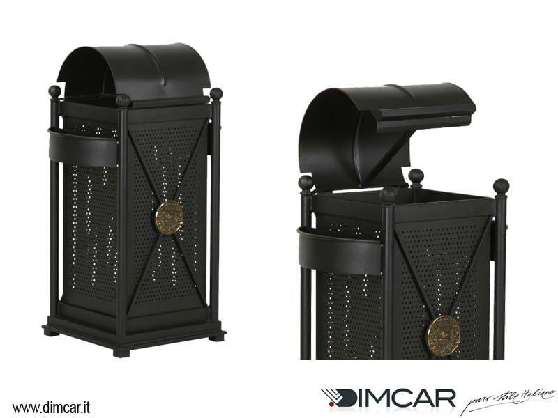 Outdoor metal waste bin with ashtray Cestone Virgo con coperchio apribile - DIMCAR