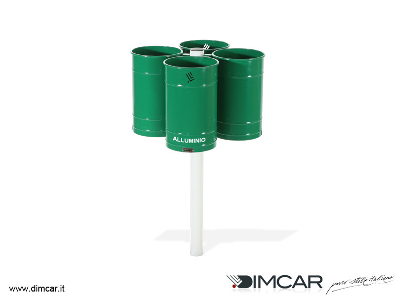 Outdoor metal waste bin for waste sorting Quadruplo Polis by DIMCAR