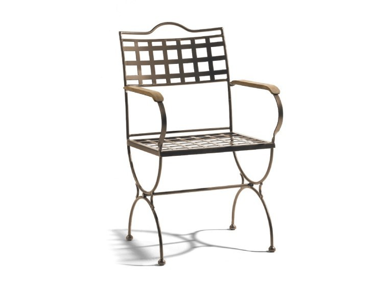 Wrought iron garden chair with armrests VERSAILLES | Garden chair with armrests - MANUTTI