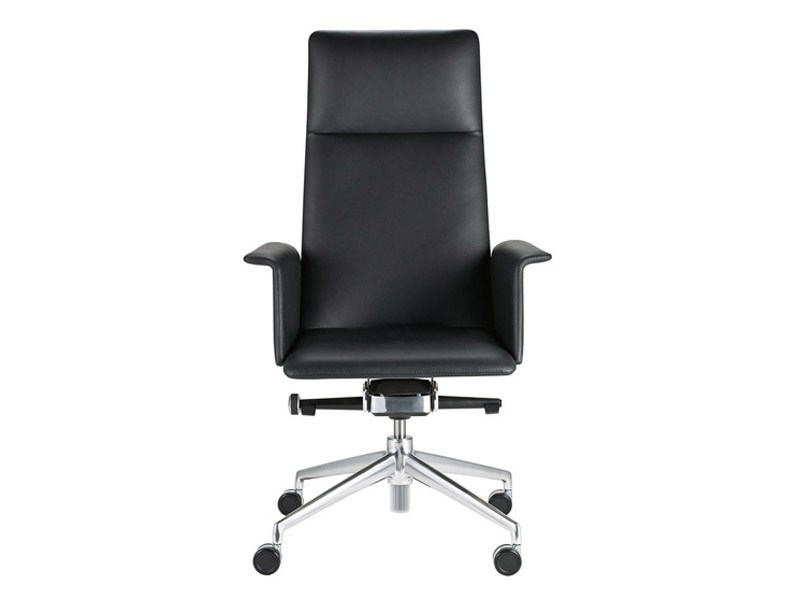 Leather executive chair with 4-spoke base with armrests with casters FINASOFT | Executive chair with armrests - Brunner