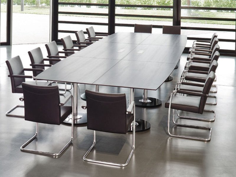 Rectangular MDF meeting table SPIRA | Rectangular meeting table by Brunner
