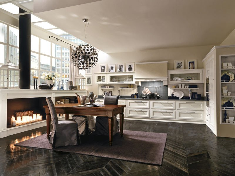 Classic style lacquered fitted kitchen MILANO | Fitted kitchen - Martini Mobili