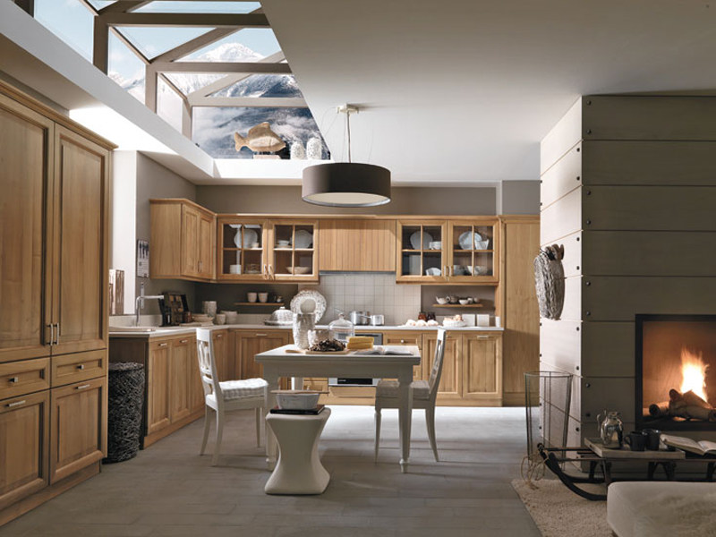 Linear walnut fitted kitchen PIEVE DI CADORE - Martini Mobili