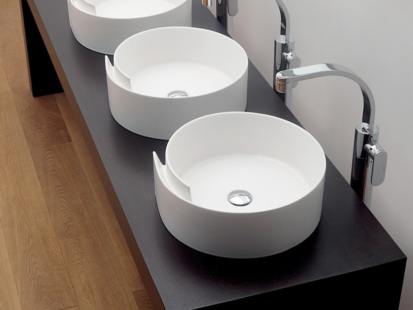 Countertop round ceramic washbasin ROLL 44 | Countertop washbasin - CERAMICA FLAMINIA