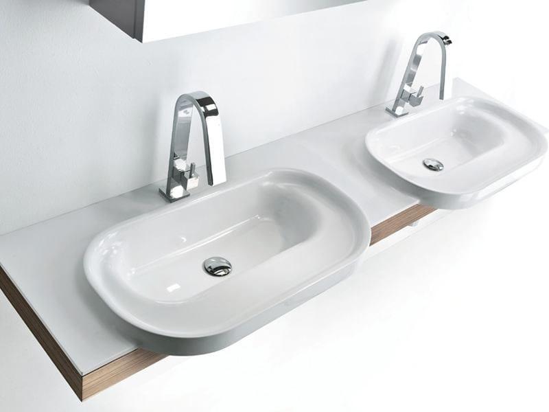 Double Tecnoril® washbasin countertop METROPOLIS | Washbasin countertop - LASA IDEA