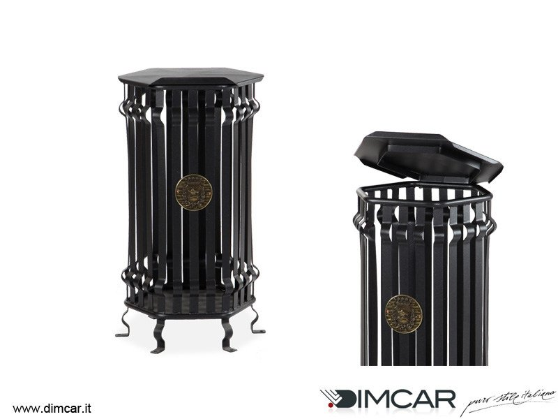 Outdoor metal waste bin with lid Cestone Barocco con coperchio - DIMCAR