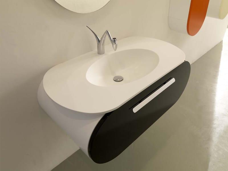 Wall-mounted Tecnoril® vanity unit with drawers FLUX_US 4 | Vanity unit - LASA IDEA