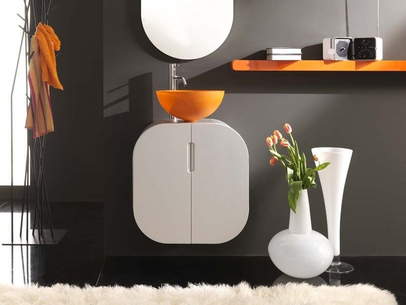 Wall-mounted vanity unit with doors FLUX_US 11 by LASA IDEA