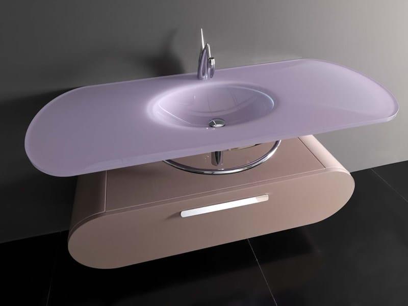 Wall-mounted washbasin with integrated countertop FLUX_US 17 | Washbasin - LASA IDEA