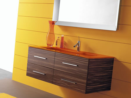 Meuble sous vasque mural avec tiroirs thais 1w by lasa idea for Meuble mural a tiroir
