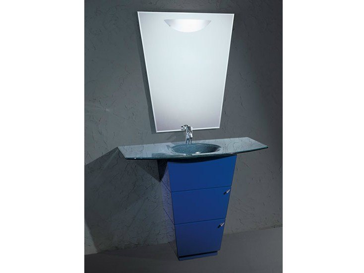 Floor-standing single vanity unit with mirror LIBECCIO 2 - LASA IDEA