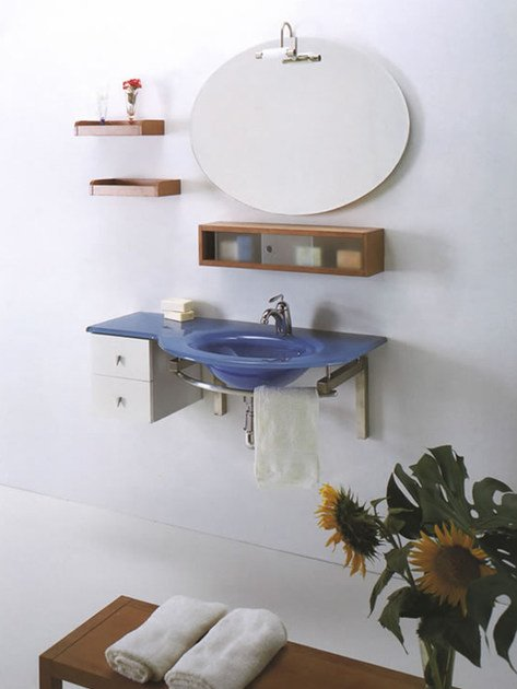 Wall-mounted crystal washbasin with integrated countertop TIFFANY 400 by LASA IDEA