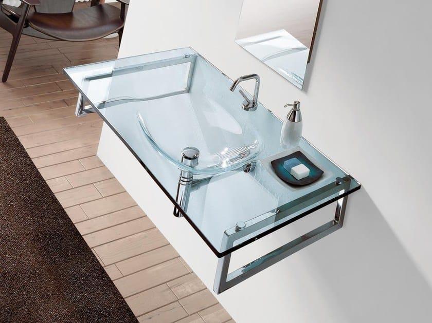 Rectangular wall-mounted crystal washbasin TIFFANY 710 - LASA IDEA