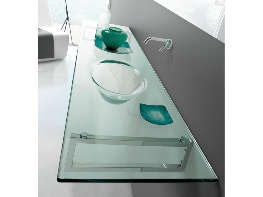 Wall-mounted crystal washbasin with towel rail TIFFANY | Washbasin with integrated countertop - LASA IDEA