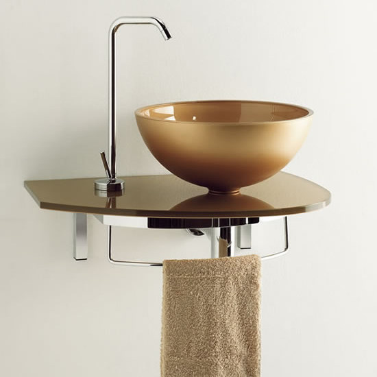 Wall-mounted washbasin with towel rail UNIK 3 by LASA IDEA