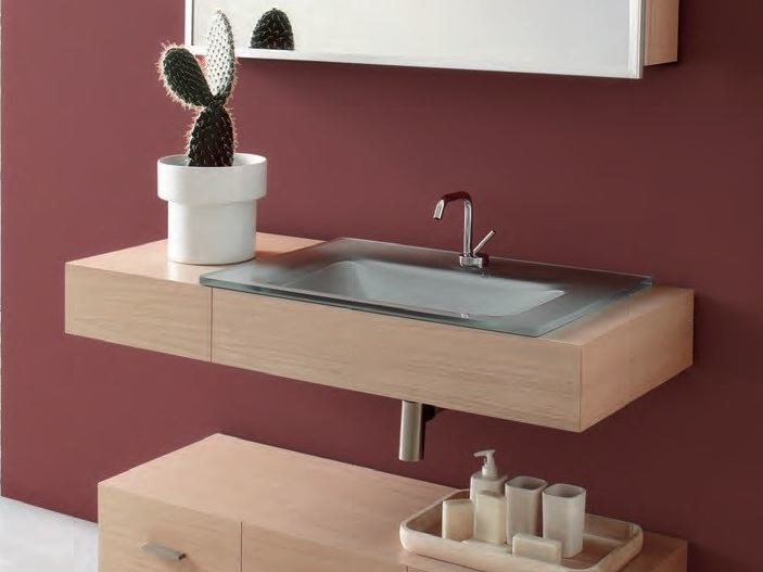 Wall-mounted vanity unit with drawers MARIPOSA 16 | Vanity unit - LASA IDEA