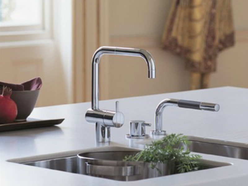 Countertop kitchen mixer tap with spray KV1-500T1 | Kitchen mixer tap - VOLA