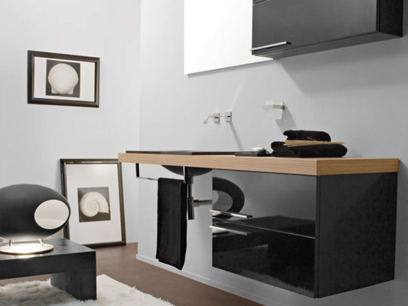 Lacquered wall-mounted vanity unit with drawers MARIPOSA 27 - LASA IDEA