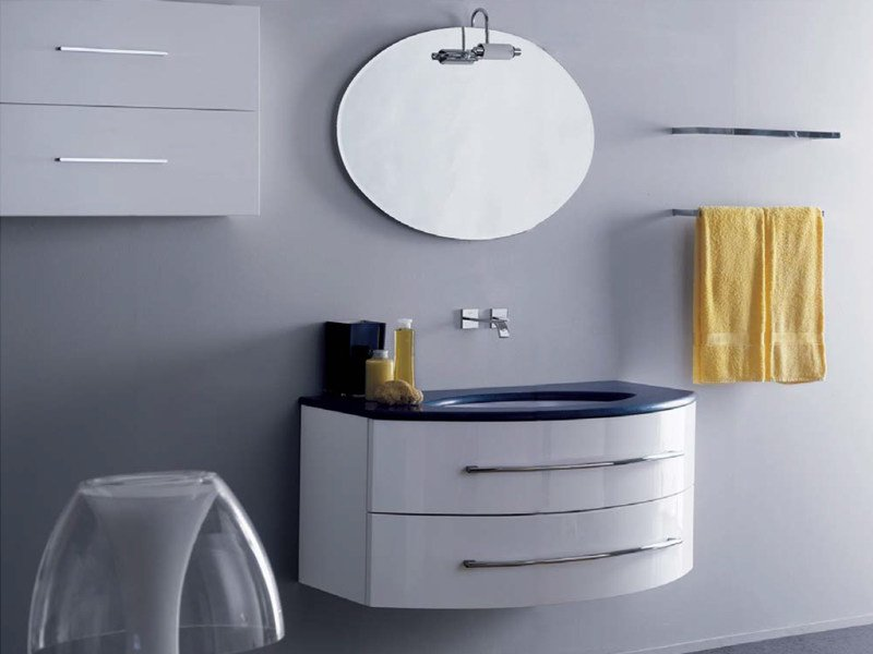 Lacquered wall-mounted vanity unit with drawers COMPOS 168 - LASA IDEA