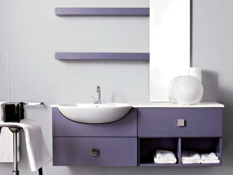 Lacquered wall-mounted vanity unit with drawers COMPOS 186 - LASA IDEA
