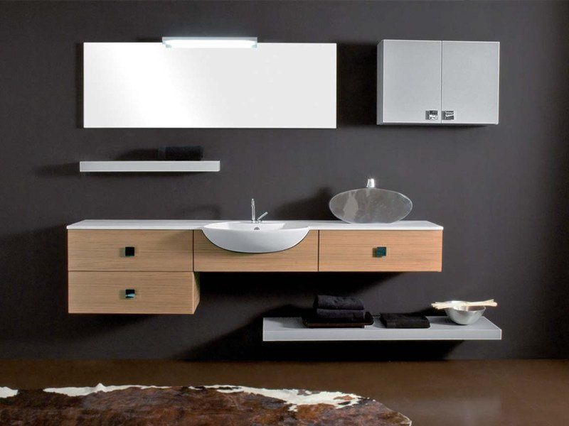 Single wall-mounted vanity unit with drawers COMPOS 187 - LASA IDEA