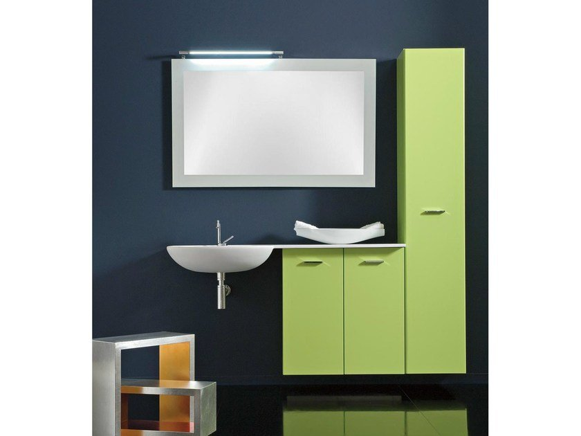 Lacquered wall-mounted vanity unit with cabinets COMPOS 197 - LASA IDEA