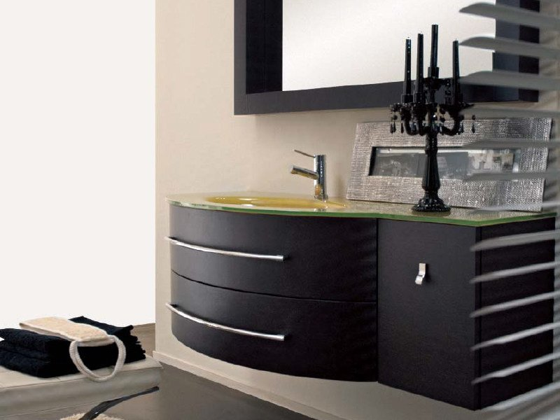 Single wall-mounted vanity unit with drawers COMPOS 193 - LASA IDEA